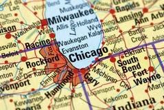 Chicago no mapa Foto de Stock Royalty Free