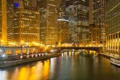chicago nocy rzeki Zdjęcie Stock