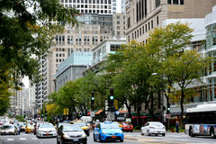 Chicago north downtown. Chicago city urban street and traffic. Photo taken in October 5th, 2014 Stock Image