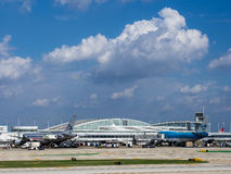 Chicago O'Hare Airport. Terminal with planes Royalty Free Stock Photography