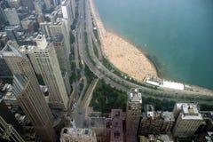 Chicago - Oak Street Beach. View from John Hancock center Stock Photo