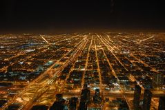Chicago occidentale la nuit Images stock
