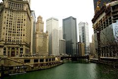 Chicago office buildings. Buildings on the water in Chicago Royalty Free Stock Photography