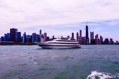 Chicago op Meer Michigan stock foto