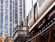 Chicago Orange line train on Loop Royalty Free Stock Images