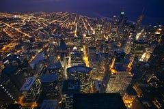 Chicago på natten Arkivbild