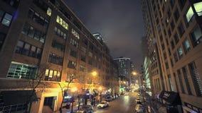 Chicago på natten Timelpse Chicago Illinois, United States arkivfilmer