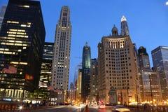 Chicago på skymningen Arkivbild