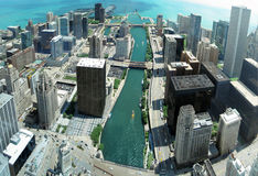 Chicago panorama from 88th floor on Chicago river royalty free stock image