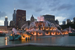 Chicago panorama with Buckingham Fountain Royalty Free Stock Photography