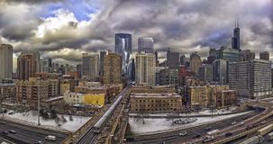 Chicago Panorama on a cloudy winter day. Chicago, Illinois, USA royalty free stock images