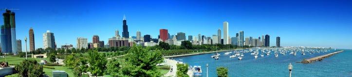 chicago panorama- horisont Arkivfoto