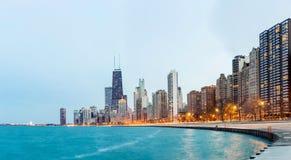 Chicago-Panorama-Michigansee Stockfoto