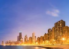 Chicago-Panorama-Michigansee Stockbild