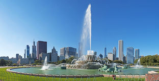 Chicago: panoramic view of Buckingham Fountain and skyline on September 22, 2014 Stock Photo