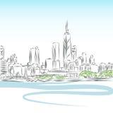 chicago pejzaż miejski rysunku linia Zdjęcia Royalty Free