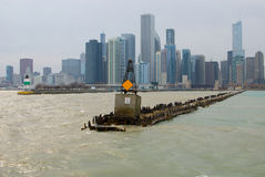 Chicago Pier. The end of a breakwater near Navy Pier, with the Chicago skyline in the background Royalty Free Stock Photography