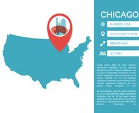Chicago map infographic vector isolated illustration. Chicago pin point map shape vector infographics template. Modern city data statistic isolated illustration Royalty Free Stock Images