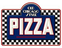 Chicago Pizza Sign. Vintage Tin Metal Checkerboard Embossed Chisel Lettering Old Antique Deep Dish royalty free illustration