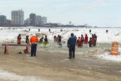 Chicago Polar Plunge. Chicago, IL - March 2, 2014 - hundreds of brave Chicagoans showed up to jump into the freezing lake Michigan water at the Annual Polar stock photos