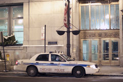 Chicago Police Car in Downtown Chicago at Night royalty free stock photo