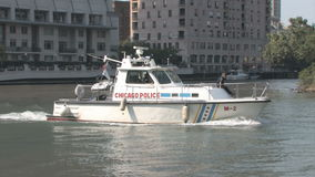 Chicago Police. CHICAGO, USA - SEP 22, 2008: Chicago Police Boat on the Chicago River on patrol stock footage