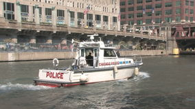 Chicago Police. CHICAGO, USA - SEP 22, 2008: Chicago Police Boat on the Chicago River on patrol stock video footage