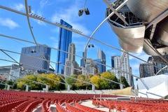 Chicago Pritzker Pavilion. Famous Pritzker Pavilion at Millennium Park in Chicago.  Photo taken in October 5th, 2014 Stock Photography