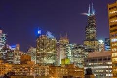 Chicago przy nocą Obrazy Royalty Free