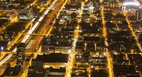 Chicago przy nocą od Willis wierza Obraz Stock
