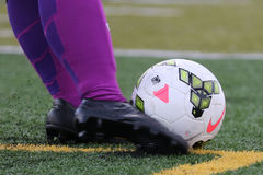Chicago Red Star Women's soccer player kicking a Nike soccer ball in a NWSL game. Royalty Free Stock Photography