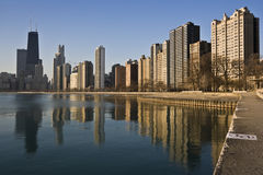 Chicago reflected in Lake Michigan Royalty Free Stock Photos