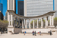 Chicago residents at Millennium Park fountain Royalty Free Stock Photo