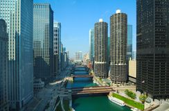 Chicago River. Daytime view of the Chicago River from a high vantage Royalty Free Stock Image