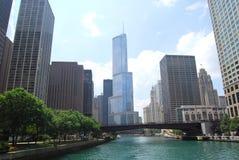 Chicago river. Chicago city river receding through downtown area, Illinois, U.S.A Stock Photos