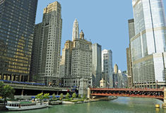 Chicago River. A view of the Chicago river from the river boardwalk downtown Stock Image