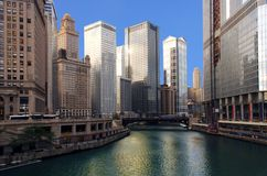 Chicago River. Dramatic Image of the Chicago River from michigan Ave Stock Images