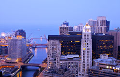 Chicago River from Above at Night Royalty Free Stock Image