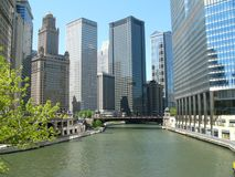 Chicago River Architecture. Buildings on the Chicago River taken from the Michigan Avenue bridge Royalty Free Stock Photos