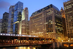 Chicago river as sunset Stock Images