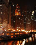 Chicago River At Night Stock Photography