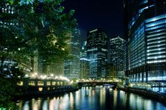 Chicago River At Night Stock Image