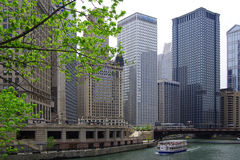 Chicago River boat tour Royalty Free Stock Photo