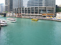 Chicago river boats Royalty Free Stock Photography