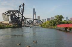 Chicago River Brücken Stockbild