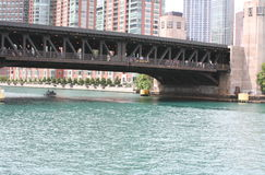 Chicago River. Bridge, river, Chicago, boats,state street,downtown chicago Royalty Free Stock Photos