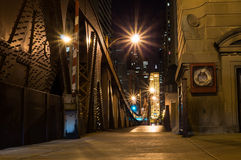 Chicago River Bridge at Night Stock Photography