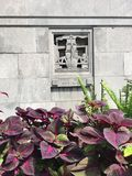Architecture of Chicago River bridgehouse and flowerbed Royalty Free Stock Images