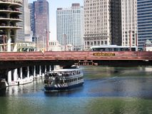 Chicago river bridges and boat Royalty Free Stock Image