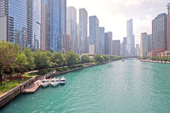 Chicago river. With buildings in the background Stock Photos